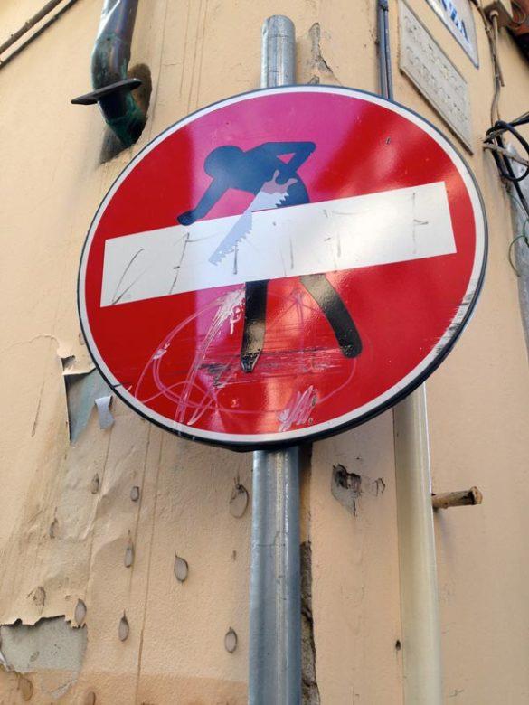 In Florenz gibt´s Kunst sogar auf Verkehrsschildern