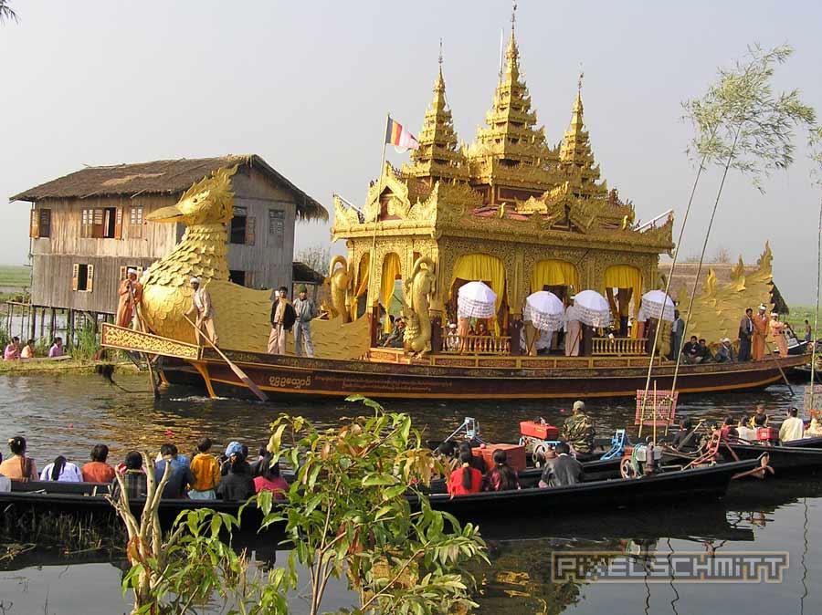 Reisebericht Myanmar 2004: Inle See – Einbeinruderer, springende Katzen und goldene Boote