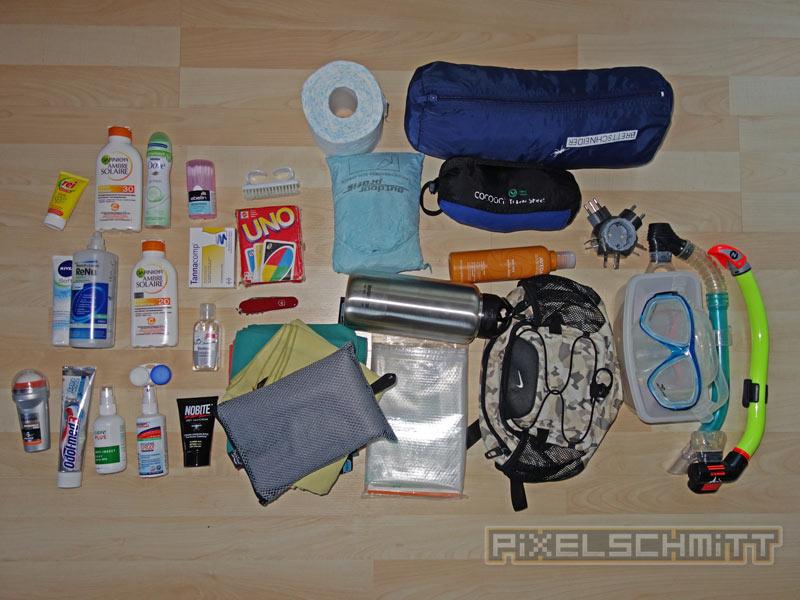 Packliste Sri Lanka: Diverses Kleinzeug war auch im Rucksack