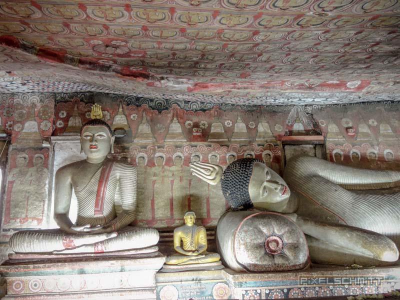 Goldener Tempel und Höhlenmalerei in Dambulla