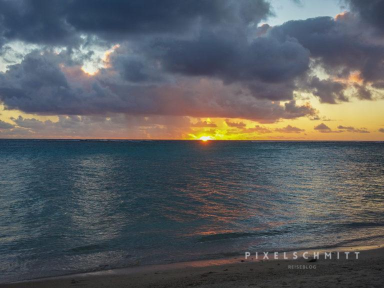 Zum Urlaub gehört auch der Sonnenuntergang vor Mauritius
