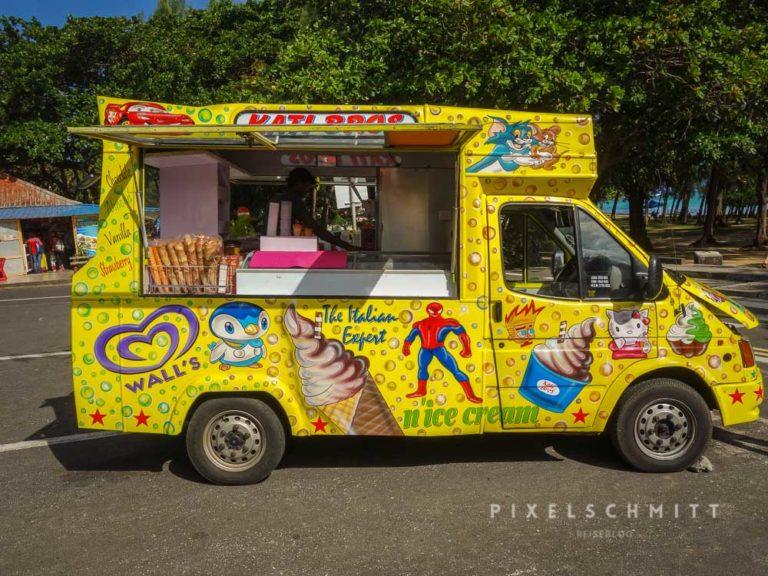 Beim Urlaub auf Mauritius allgegenwärtig: Foodtrucks und Eisverkäufer