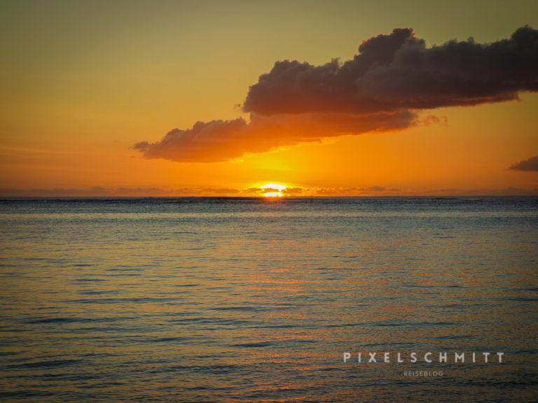 Sonnenuntergang während des Urlaubs in Mauritius
