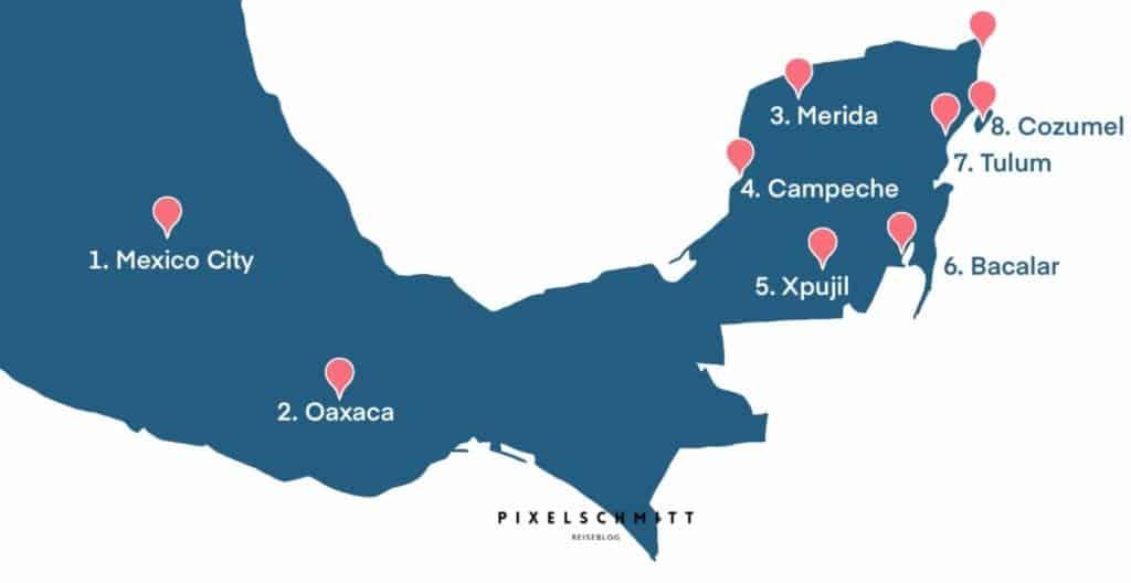 Unsere Route durch Mexiko: Das waren unsere Stopps für 4 Wochen