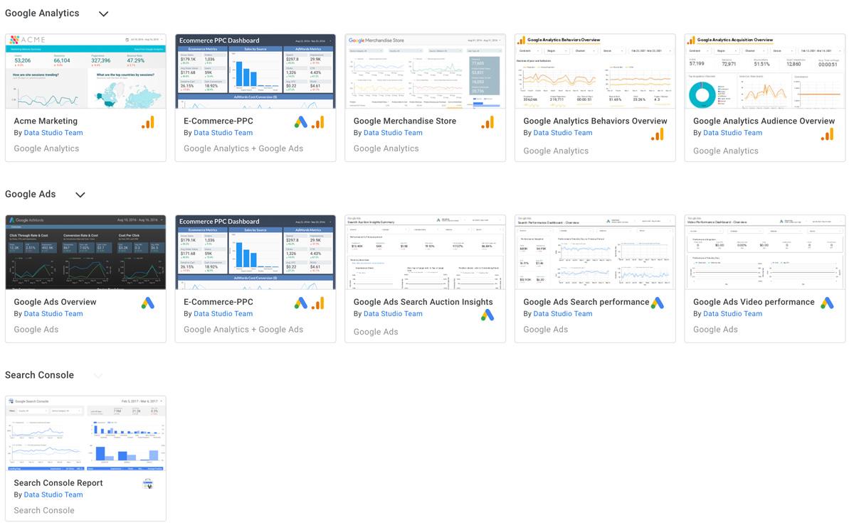 Berichtsvorlagen im Google Datastudio